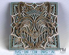 3D Layered Fox SVG 3D Fox Svg Mandala Fox DXF for Laser Cut   Etsy Laser Cut Wood, Laser Cutting, Lotus Flower Mandala, Cnc Router Machine, Thing 1, Religious Cross, Mandala Pattern, Flower Patterns, Creative Design