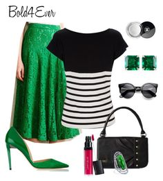 """Untitled #267"" by kyleedavis on Polyvore. Emerald green, black & white plus stripes. Beautiful!"