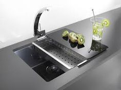 Alveus Quadrix 50 Stainless Steel Sink in Anthracite. A wonderfully produced kitchen sink in a revolutionary new colour. Single Sink Kitchen, Modern Kitchen Sinks, Steel Kitchen Sink, Kitchen Sink Design, Stone Kitchen, Interior Design Living Room, Island Kitchen, Kitchen Designs, Kitchens