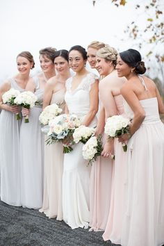 long blush, gray, and cream bridesmaid dresses | Abby Grace #wedding