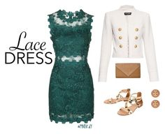 """""""Breath"""" by mnbirdy ❤ liked on Polyvore featuring Balmain, Topshop, Cocobelle, Tory Burch, lacedress and mnbirdy"""
