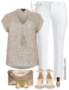 Plus Size Sequin Top Outfit - Plus Size White Jeans - Plus Size Fashion for Women - alexawebb.com #alexawebb