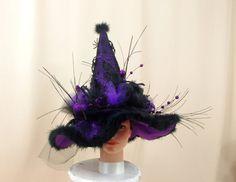 Purple Witch Hat Halloween Hat Halloween by englishrosedesignsoh