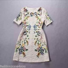 Fashion Runway Dress Sundress Flowers Print Short Sleeve Zipper Back
