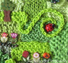"""Freeform crochet.  Particolare del quadro """"Prato"""""""