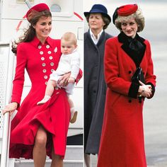Kate Middleton and Princess Diana in red.