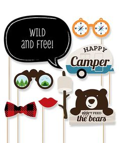 Enliven your party with photo-taking whimsy courtesy of these delightful props ensuring laugh-inducing disguises as you capture plenty of memories. College Event Ideas, Dont Feed The Bears, Camping Photo, Big Dot Of Happiness, Photo Booth Props, Happy Campers, Invitations, Holiday Decor, Party