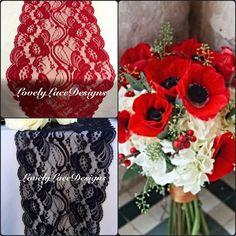 Chemins de Table dentelle rouge/noir mariages 3 pieds à 10