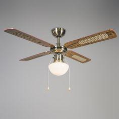 Industriële plafondventilator met lamp 100 cm hout - Wind | Lampenlicht Industrial Ceiling Fan, Wood Structure, Industrial Interiors, Working Area, Save Energy, Light Bulb, Personality, Art Deco, Lights