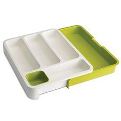 R$ 159,00 Organizador de plástico para talheres expansivo Joseph & Joseph verde e branco 36 x 29 cm - Utensílios Domésticos / Utilplast - Utilplast