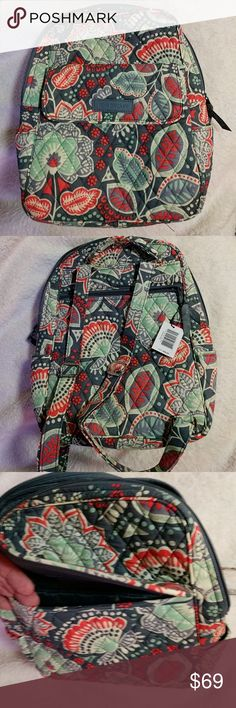 Vera  Bradley Nomadic Floral Mini Backpack Purse This is a rare and hard to find Vera Bradley Nomadic Floral Backpack Purse.   Brand new with tags!  I purchased  a set of bags in this same pattern and only ended up using a few pieces.  The front pocket closes via a hidden magnet.  Inside the bag there are two additional pockets.  Back of the bag has a zippered pocket as well!  This is a steal for anyone looking for something colorful and machine washable.  The colors are Coralish orange…