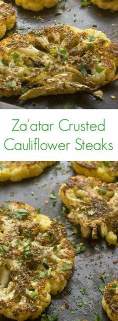 Za'atar Crusted Cauliflower Steaks - a healthy, easy vegan dinner recipe.