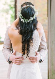 wedding hair, floral crown