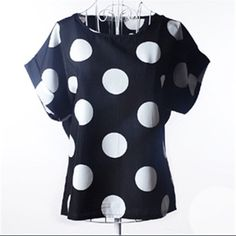Black and white chiffon polka dot top Nwt, beautiful flowy top. Size is xl but equivalent to us medium. In original packaging as seen in pic 3. ✌️ Tops Blouses