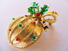 Deck The Halls: This cute little vintage bauble brooch is a great stocking filler, and it's the gift that keeps on giving - Christmas after Christmas! After Christmas, Stocking Fillers, Deck The Halls, Bauble, Brooch, Cute, Gifts, Vintage, Design