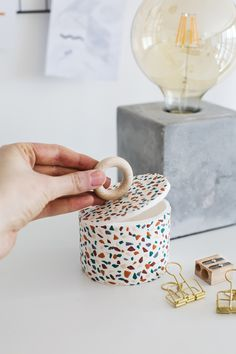 DIY terrazzo tile storage pot