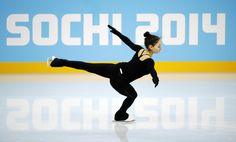 Elene Gedevanishvili of Georgia performs during a practice session at the figure skating practice rink at the 2014 Winter Olympics.