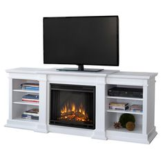 I pinned this Fresno Media Console with Electric Fireplace from the Season's Best event at Joss and Main!  What a practical idea for a small living room - space for a TV and the ambiance of a real fireplace!