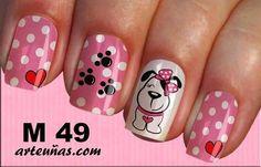 Perrito Dog Nail Art, Cute Nail Art, Cute Nails, Pretty Nails, My Nails, Animal Nail Designs, Diy Nail Designs, Nails For Kids, Girls Nails