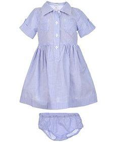 Carter's Baby Girls' Shirt Dress (Newborn, Blue Stripe)