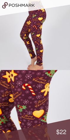 Mix Print Christmas Leggings Cookies Candy Canes Mix Print Christmas  Leggings Cookies Candy Canes peach skin 521ddae8c