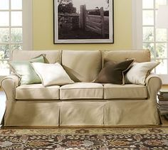 Pb Basic Slipcovered Sofa Brushed Canvas Potterybarn Living Room Furniture Upholstery
