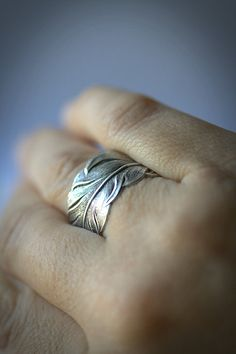 Silver feather RING. Unisex Size 14, 13 , 12, 11, 10, 9, or smaller. Mens man male women Ladies.Thumb middle. July Summer via Etsy