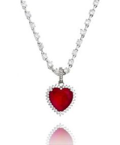 colar rubi de coração com corrente de riviera prata semi joias finas