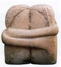 constantin brancusi-the kiss~ (Because humankind worshiped love before war.)