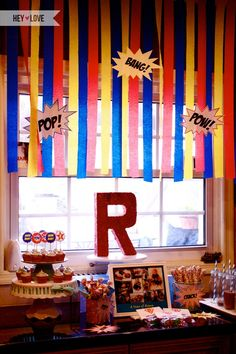 Cadens Super hero party  @Chelsea Holman the streamers would be easy and cheap