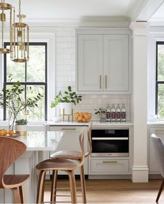 kitchen with light gray cabinets and subway tile Kitchen Inspirations, Interior, Kitchen Remodel, Kitchen Decor, Home Decor, House Interior, Kitchen Dining Room, Home Kitchens, Kitchen Renovation