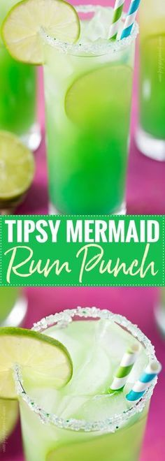 Tipsy Mermaid Rum Punch | Tropical, sweet, and beautifully colored, this is one rum punch you have to try! | http://the5oclockchef.com | Mermaid Rum Punch Cocktail Drink Party Beverage