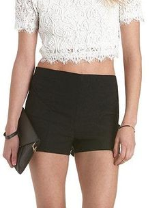 Pin-Tucked High-Waisted Shorts: Charlotte Russe #shorts #covetme