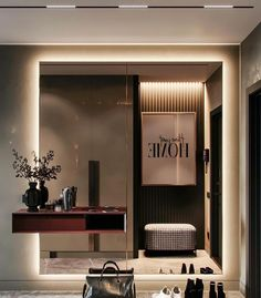 Stunning details of this gorgeous foyer! Home Room Design, Dining Room Design, House Design, Design Hall, Hall Wardrobe, Beton Design, Lobby Interior, Dark Interiors, Minimal Design
