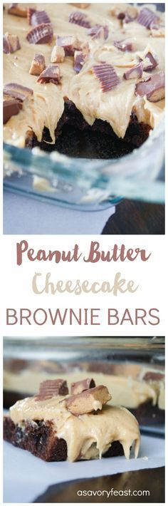 These are the most decadent brownies ever! Start with your favorite boxed brownie mix and top with a peanut butter cheesecake layer and Reese's Peanut Butter Cups. The perfect dessert for a party or just because! If you love the combination of chocolate
