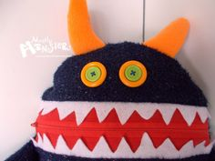 Cuddle Monster Pillow SPARKLE MONKEY  Navy by MostlyMonstersCV, $27.95