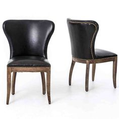 Richmond Black Leather Wingback Dining Chair with Weathered Oak Frame Black Leather Dining Chairs, Metal Dining Chairs, Wing Chairs, Dining Table, Black Chairs, Folding Chairs, Dining Set, Kitchen Dining, Used Chairs