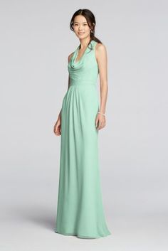 "A sophisticated look that can carry you through any occasion!  4"" extra length dress.  Long crinkle chiffon dress features halter style straps with a cascading cowl front.  Key hole back with slight blouson waist allowing for a comfortable all day fit.  Fully lined. Back zipper. Imported. Dry clean only  Also available in Missy sizes as Style F18073.  To protect your dress, try our Non Woven Garment Bag."