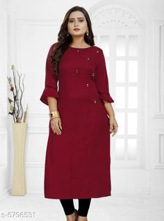 Kurtis & Kurtas Women's Solid Rayon Kurti Fabric: Rayon Sleeve Length: Three-Quarter Sleeves Pattern: Solid Combo of: Single Sizes: XL (Bust Size: 42 in Size Length: 46 in)  L (Bust Size: 40 in Size Length: 46 in)  XXL (Bust Size: 44 in Size Length: 46 in)  M (Bust Size: 38 in Size Length: 46 in) Country of Origin: India Sizes Available: S, M, L, XL, XXL, XXXL   Catalog Rating: ★4 (453)  Catalog Name: Jivika Fashionable Kurtis CatalogID_872985 C74-SC1001 Code: 792-5796531-
