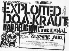 Exploited, D.O.A. Bad Religion & Love Canal at The Olympic Auditorium. Fri June 1st
