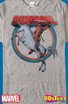 Deadpool Unicorn T-Shirt: Marvel Comics Deadpool Mens T-Shirt Inspired by the end of the film credits, this unique art design is perfectly illustrated.  Add this to your men's fashion shirts.