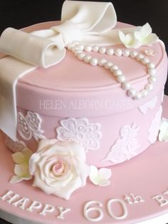 Pink Hat Box Style Birthday Cake