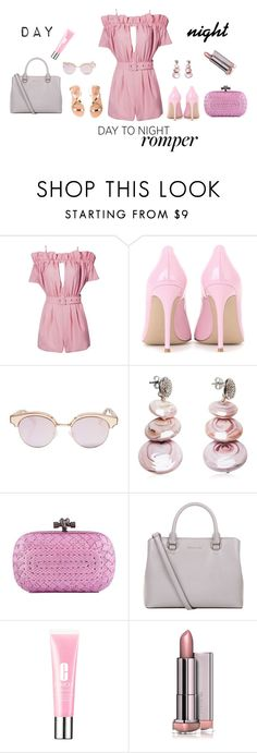 """Day to Night Romper"" by mandeerose ❤ liked on Polyvore featuring Posh Girl, Gianvito Rossi, Le Specs, Antica Murrina, Bottega Veneta, MICHAEL Michael Kors, Clinique, Ancient Greek Sandals, DayToNight and romper"