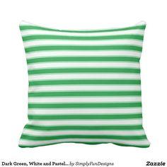Dark Green, White and Pastel Green Stripes Pillow