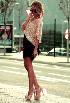 Sparkle shirt, black skirt, shoes...perfection!
