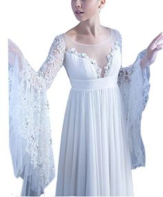 Ikerenwedding Womens Beaded Applique Ruffle Bell Sleeve Chiffon Wedding Dress White US4 -- Find out more about the great product at the image link. (Note:Amazon affiliate link) #WeddingDresses