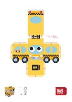 Image detail for -756 taxi papertoy template ...   PAPER TOYS - BOXES