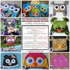 Free owl hat pattern roundup