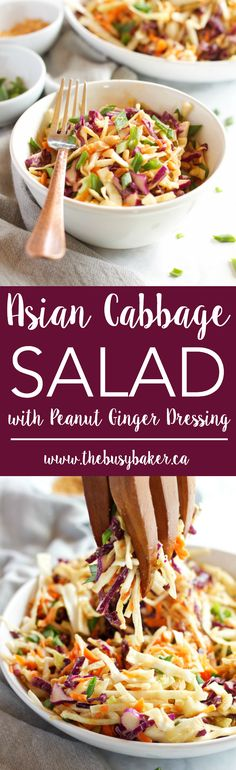 This Asian Cabbage Salad with Ginger Peanut Dressing is a healthy, easy to make Thai inspired side dish made from simple, wholesome ingredients! Recipe from thebusybaker.ca! via @busybakerblog