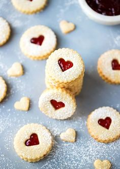 Easy Almond Linzer Cookies Recipe, round cutout cookies, sandwiched together with strawberry jam, dusted with Chocolate Chip Shortbread Cookies, Buttery Shortbread Cookies, Toffee Cookies, Spice Cookies, Cut Out Cookies, Yummy Cookies, Almond Cookies, Recipe For Linzer Cookies, Cookies With Jam